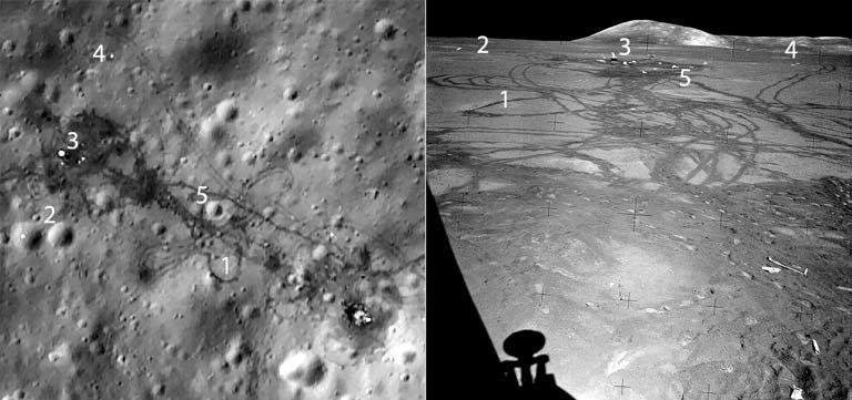 Сравнение снимка LRO (слева) и кадра из иллюминатора лунного модуля Apollo 15 (справа). NASA
