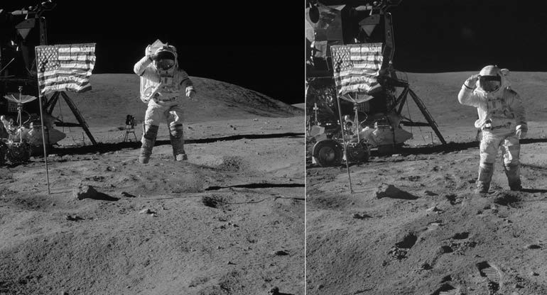 Астронавт Apollo 16 Джон Янг в прыжке и после него