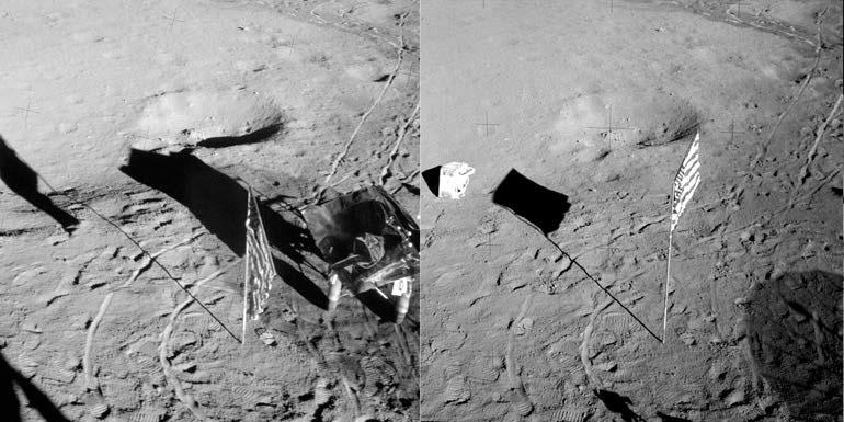 Изменение положения флага, установленного экипажем Apollo 14: до второго выхода экипажа на поверхность Луны (слева) и после него (справа)