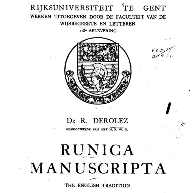 Runica Manuscripta. The English Tradition